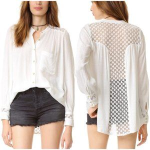 Free People The Best Lace Button Down Tunic XS